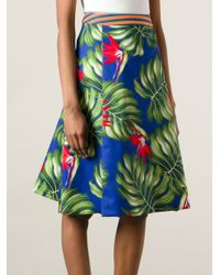 Stella Jean Green Tropical Print Skirt