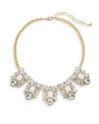 Cara | White Five-station Bib Necklace | Lyst