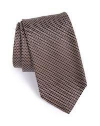 BOSS - Brown Geometric Silk Tie for Men - Lyst