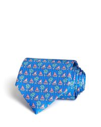 Ferragamo | Blue Sail And Palm Tree Classic Tie for Men | Lyst
