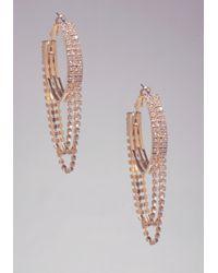Bebe - Metallic Rhinestone Hoop Earrings - Lyst