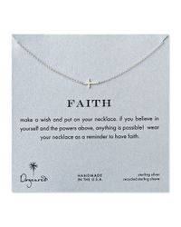 Dogeared | Metallic Faith Sideways Cross Necklace | Lyst