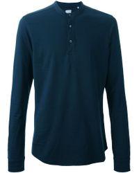 Aspesi Blue Button Collar Long Sleeve T-Shirt for men