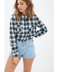 Forever 21 | Blue High-waisted Denim Shorts | Lyst