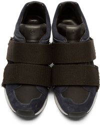 3.1 Phillip Lim - Blue Navy & Black Suede Low-top Trance Sneakers - Lyst