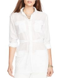 Lauren by Ralph Lauren | White Silk-cotton Belted Shirt | Lyst