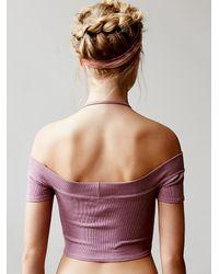 Free People | Purple Off The Shoulder Crop Top | Lyst