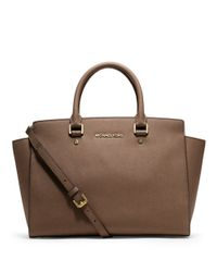 MICHAEL Michael Kors | Brown Selma Saffiano Leather Large Satchel | Lyst
