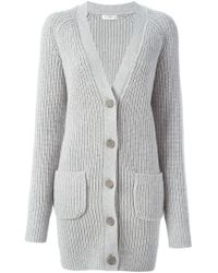 Equipment - Gray Ribbed Long Cardigan - Lyst