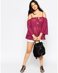 Asos Curve | Purple 70's Swing Top With Cold Shoulder And Tassels | Lyst