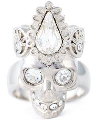 Alexander McQueen | Metallic Embellished Skull Ring | Lyst