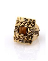House of Harlow 1960 | Metallic Cushion Cocktail Ring With Tiger's Eye | Lyst