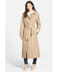 London Fog Natural Single Breasted Long Trench Coat With Detachable Hood