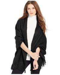 Steve Madden - Black Solid Brush Boucle Blanket Wrap - Lyst