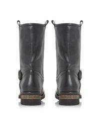 Dune Black Roller Fur Lined Buckle Calf Boots