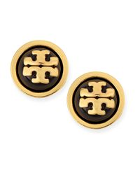 Tory Burch | Black Melodie Logo Stud Dome Earrings | Lyst