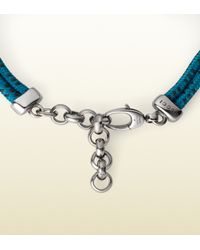Gucci - Blue Cord Bracelet with Horsebit for Men - Lyst