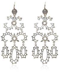 Laurent Gandini Metallic Silver Labradorite Chandelier Earrings