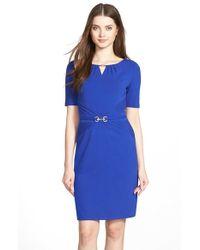 Ellen Tracy - Blue Embellished Pleated Jersey Sheath Dress - Lyst
