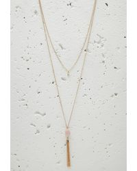 Forever 21 | Metallic Layered Faux Stone Tassel Necklace | Lyst