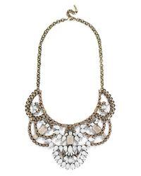 BaubleBar | Metallic 'dalloway' Crystal Bib Necklace - Antique Gold | Lyst