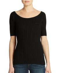 Guess | Black Half Sleeve Variegated Rib Top | Lyst