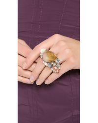 Nina Ricci Metallic Double Finger Ring Rose Multi