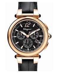 Ferragamo - Metallic 'idillio' Chronograph Calfskin Leather Strap Watch - Lyst