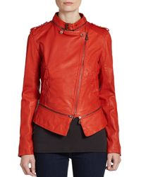 Doma Leather | Red Convertible Leather Jacket | Lyst