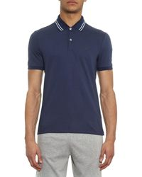 Gucci Blue Striped-Collar Polo Shirt for men