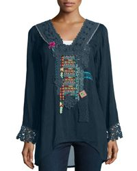 Johnny Was - Blue Lacy-trim Embroidered Blouse - Lyst