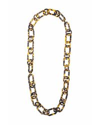 TOPSHOP - Brown Tortoiseshell Link Necklace - Lyst