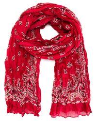 Saint Laurent - Red Paisley Print Scarf - Lyst