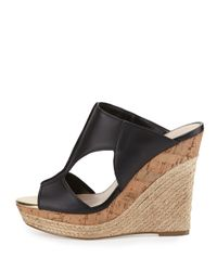 Charles by Charles David Black Abacus Cutout Leather Wedge Sandal