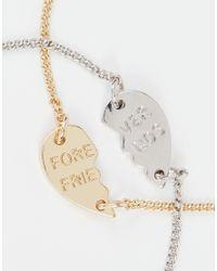ASOS | Gray Best Friends Two Pack Open Faux Pearl Pack Of 2 Cuff Bracelets | Lyst