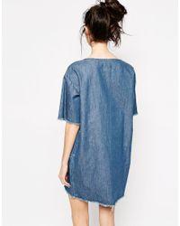 Monki Blue Raw Hem Denim Dress