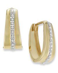 Macy's   Metallic 14k Gold Earrings, Diamond Accent Oval Hoop Earrings   Lyst