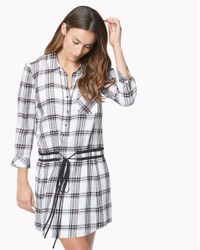 Veronica Beard - Purple Marcy Plaid Tie-waist Shirtdress - Lyst
