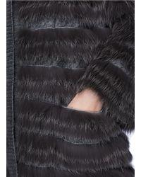 Yves Salomon Gray Fox Fur Collar Rabbit Wool Knit Coat