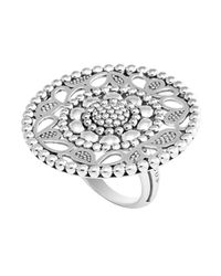 Lagos - Metallic Sterling Silver Voyage Caviar Floral Ring - Lyst
