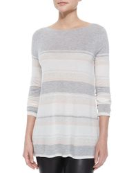 Vince | Gray Long-sleeve Mixed-stripe Slub Tee | Lyst