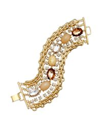 INC International Concepts - Metallic Gold-tone Multirow Natural Oval Stone Bracelet - Lyst
