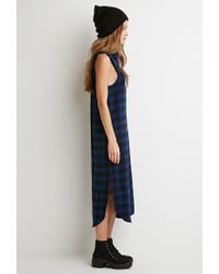 Forever 21 Blue Raw-cut Flannel Shirt Dress