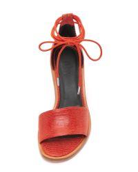 Tibi - Clark Ankle Wrap Sandals - Burnt Orange - Lyst