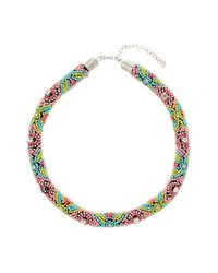 TOPSHOP - Multicolor Multi Bead Rope Collar - Lyst
