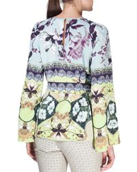 Etro - Blue Watercolor Floral-print Bell-sleeve Silk Tunic - Lyst