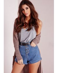 Missguided Button Front High Waisted Denim Shorts Vintage Blue