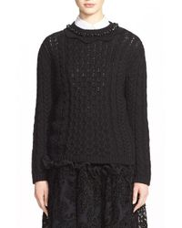 Simone Rocha | Black Cable Knit Sweater With Jeweled Neckline | Lyst