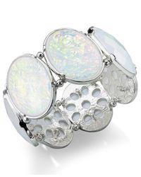 Style & Co. - Style&Co. Silver-Tone White Oval Stone Foil Bracelet - Lyst