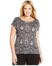 Michael Kors | Black Michael Plus Size Short-sleeve Printed Top | Lyst